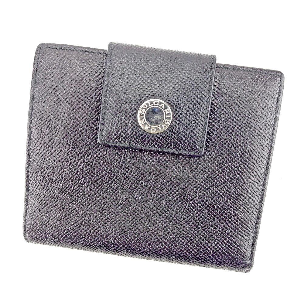 ブルガリ 二つ折り 財布 ブラック×シルバー 【中古】 T4139s