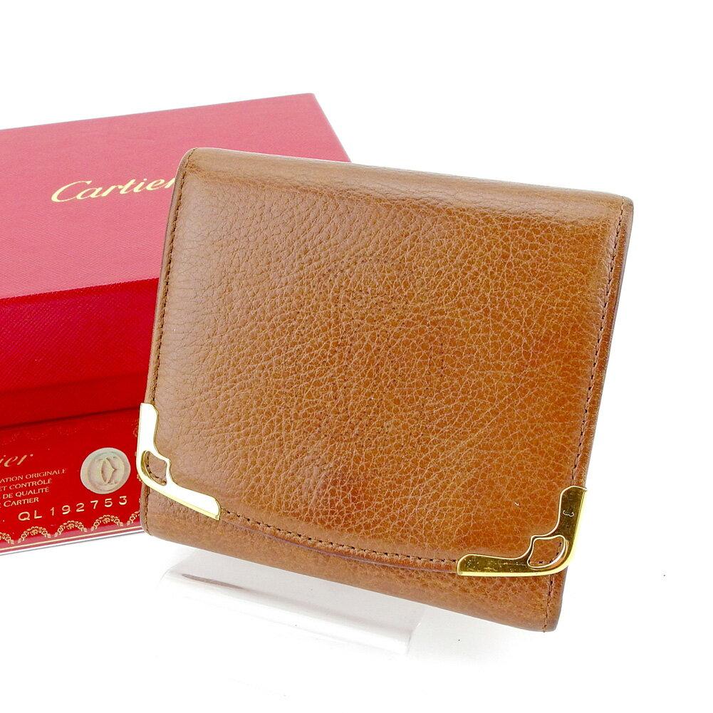 【送料無料】 カルティエ 三つ折り 財布 ブラウン×ゴールド 【中古】 T4172s