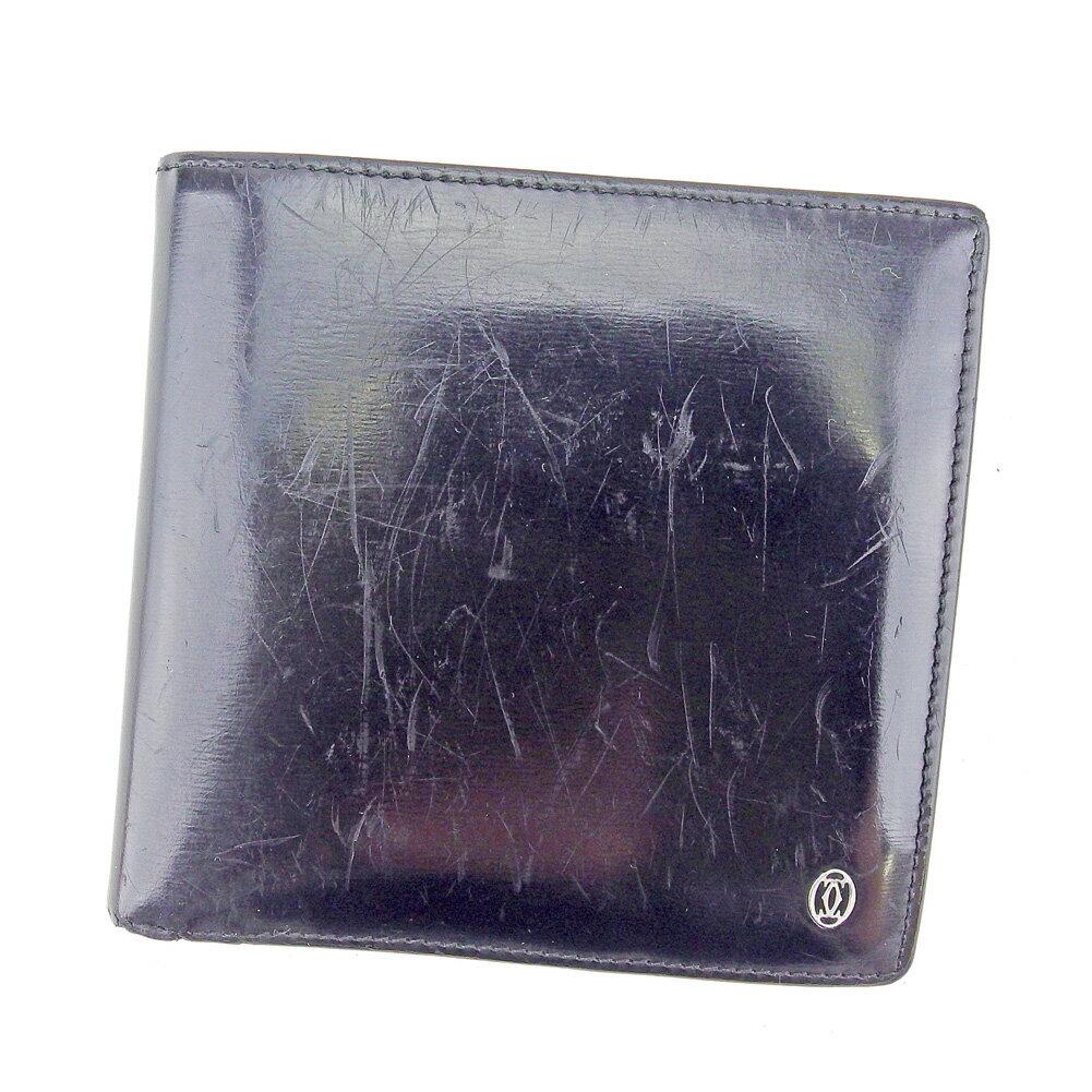 【中古】 【送料無料】 カルティエ 二つ折り 財布 ブラック×シルバー T4204s .