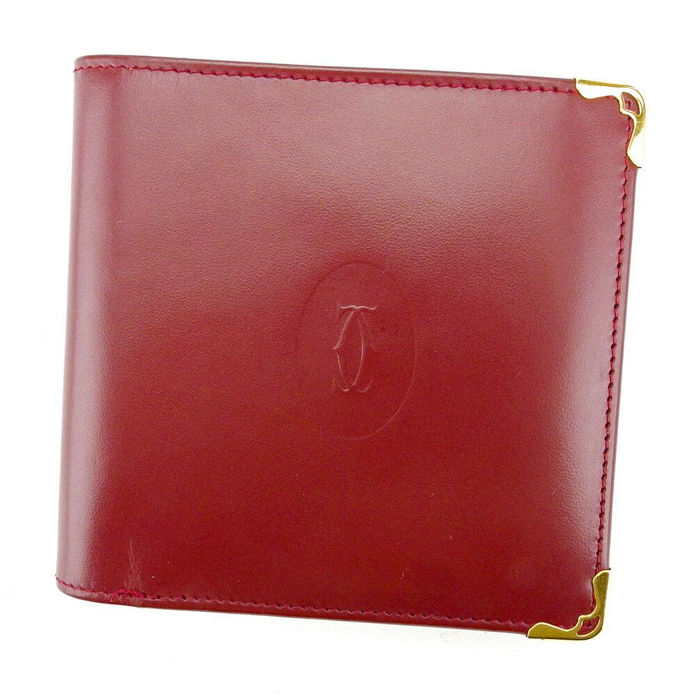 【送料無料】 カルティエ 二つ折り 財布 ボルドー×ゴールド 【中古】 T4249s