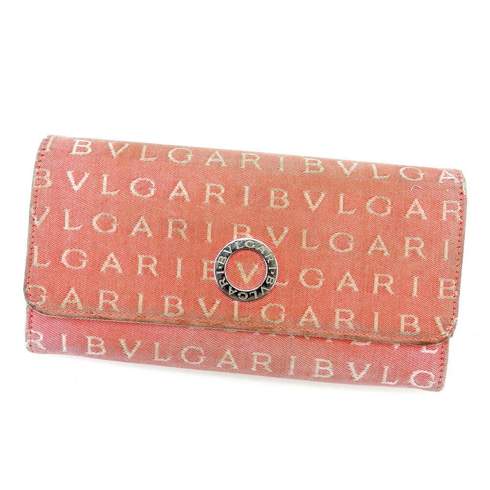 ブルガリ 長財布 財布 ファスナー付き ピンク×ベージュ×シルバー 【中古】 T4300s
