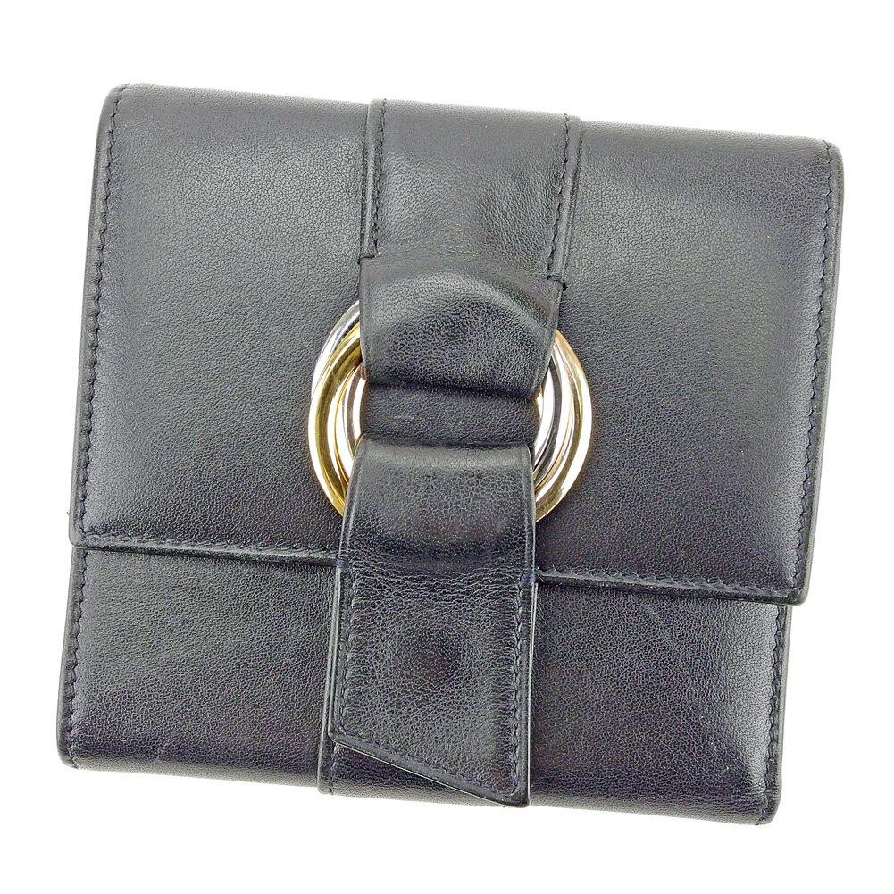 【送料無料】 カルティエ 三つ折り 財布 ブラック×ゴールド×シルバー系 【中古】 T4355s