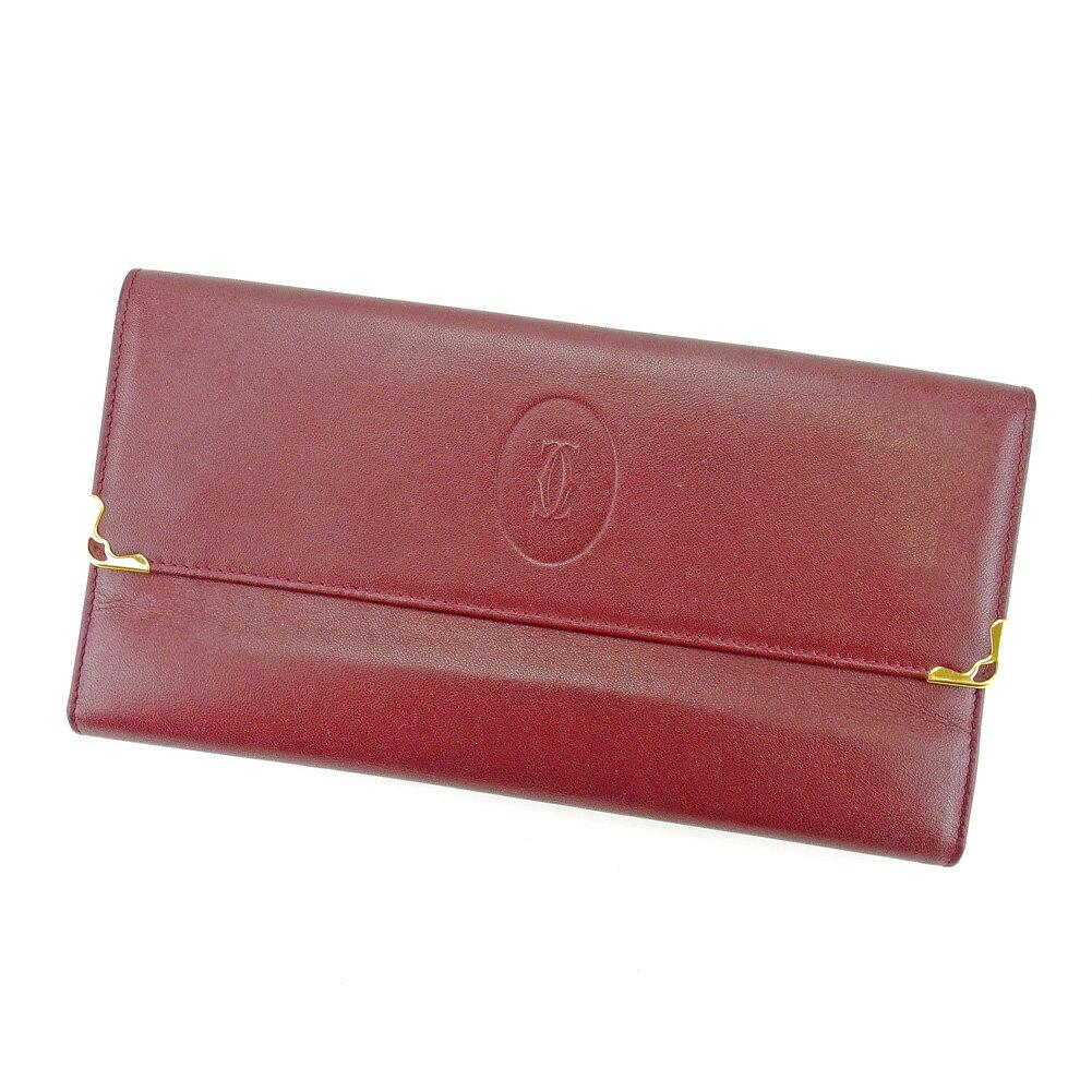 【送料無料】 カルティエ 長財布 財布 がま口 三つ折り ボルドー×ゴールド 【中古】 T4371s