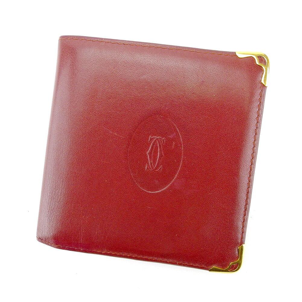 【送料無料】 カルティエ 二つ折り 財布 ボルドー×ゴールド 【中古】 T4410s