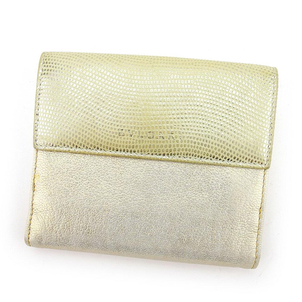 ブルガリ Wホック 財布 二つ折り ベージュ×シルバー×ゴールド系 【中古】 T4509s