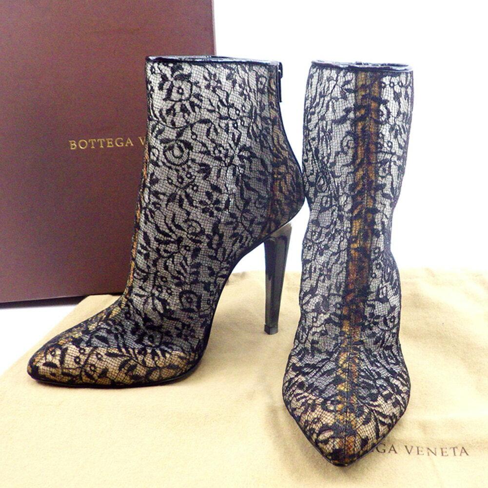 【中古】 【送料無料】 ボッテガ ヴェネタ BOTTEGA VENETA ブーツ シューズ 靴 メンズ可 #36 レース ブラック 人気 良品 T4664