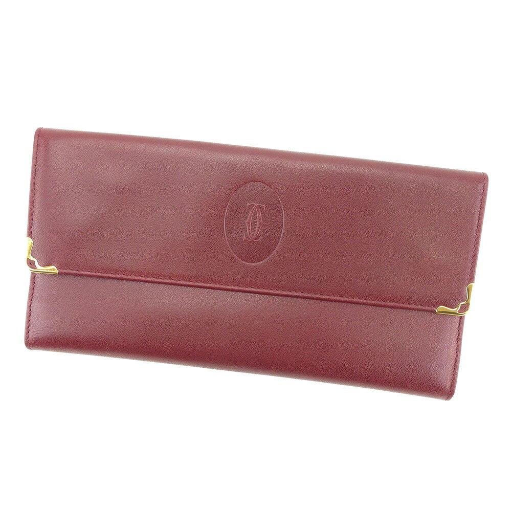 【送料無料】 カルティエ 長財布 財布 がま口 ボルドー×ゴールド 【中古】 T5042s