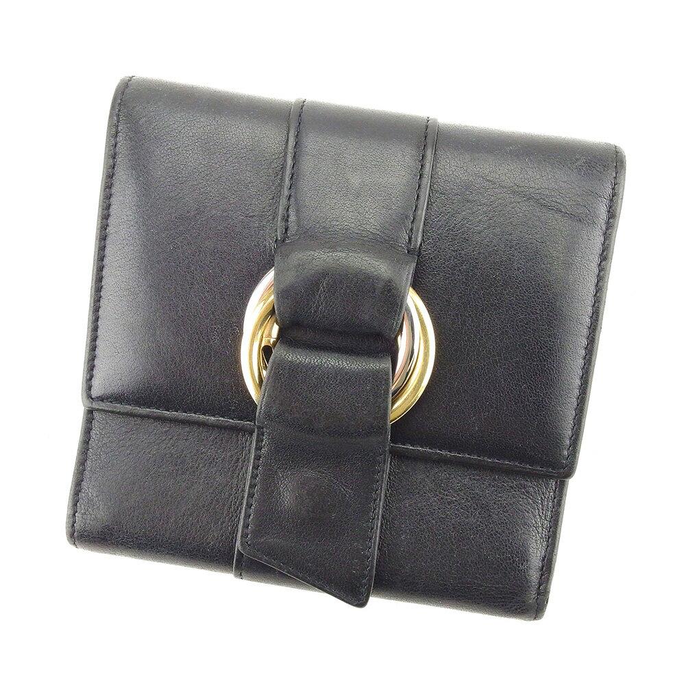 【送料無料】 カルティエ 三つ折り 財布 ブラック×ゴールド×シルバー系 【中古】 T5087s