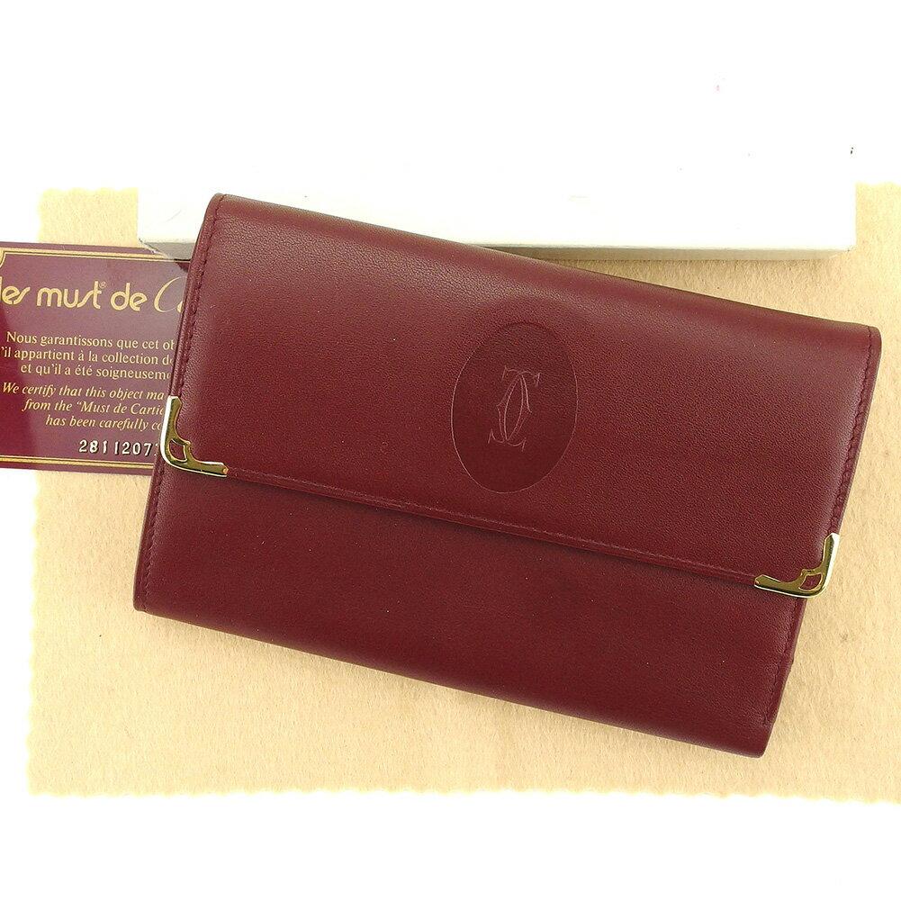 【送料無料】 カルティエ 三つ折り 財布 がま口 中長財布 ボルドー×ゴールド 【中古】 T5111s