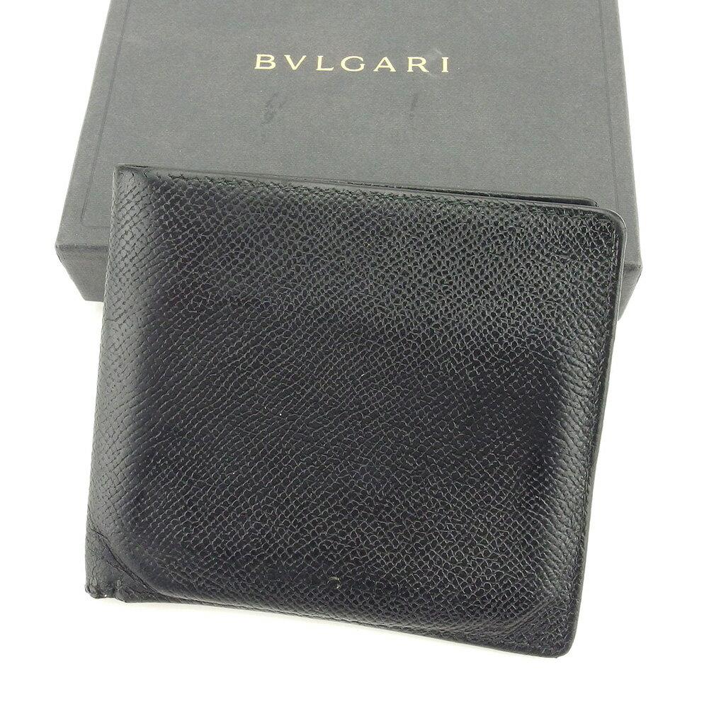 ブルガリ 二つ折り 財布 ブラック 【中古】 T5126s