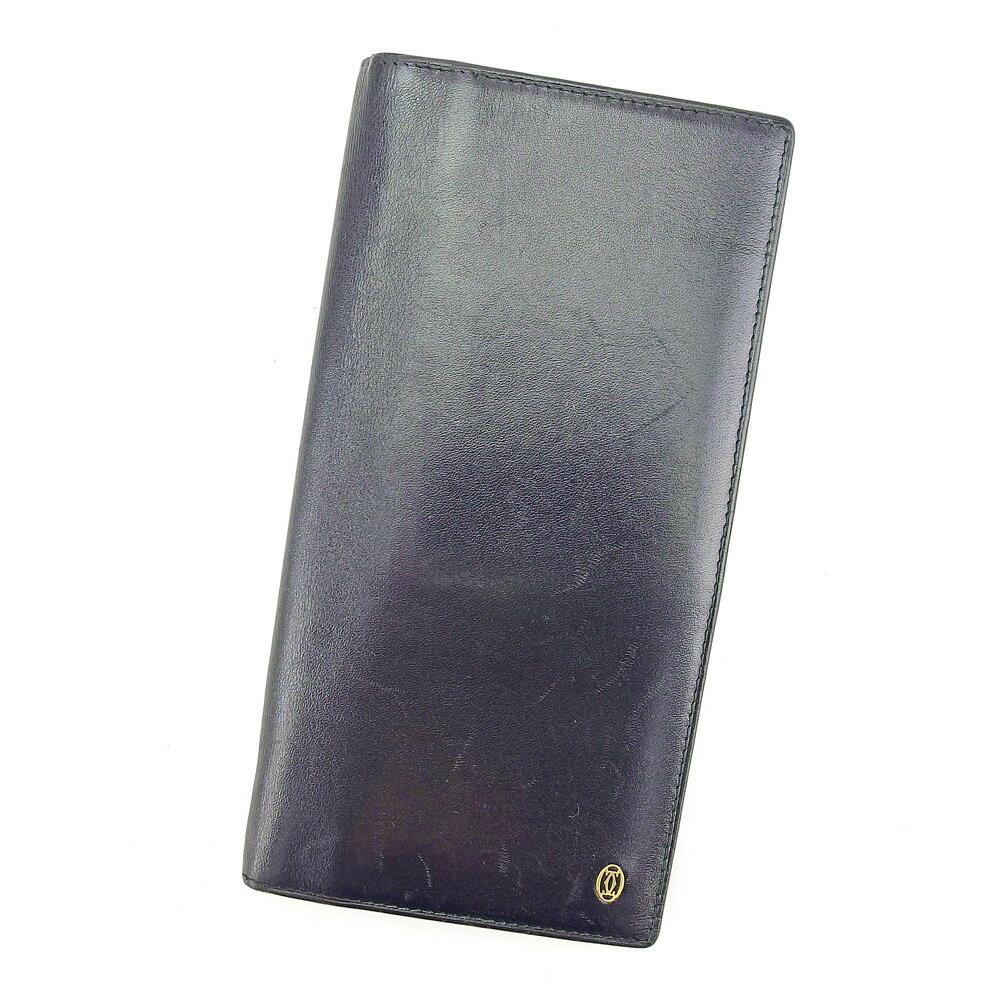 【送料無料】 カルティエ 長財布 財布 ファスナー付き ブラック ゴールド 【中古】 T5157s