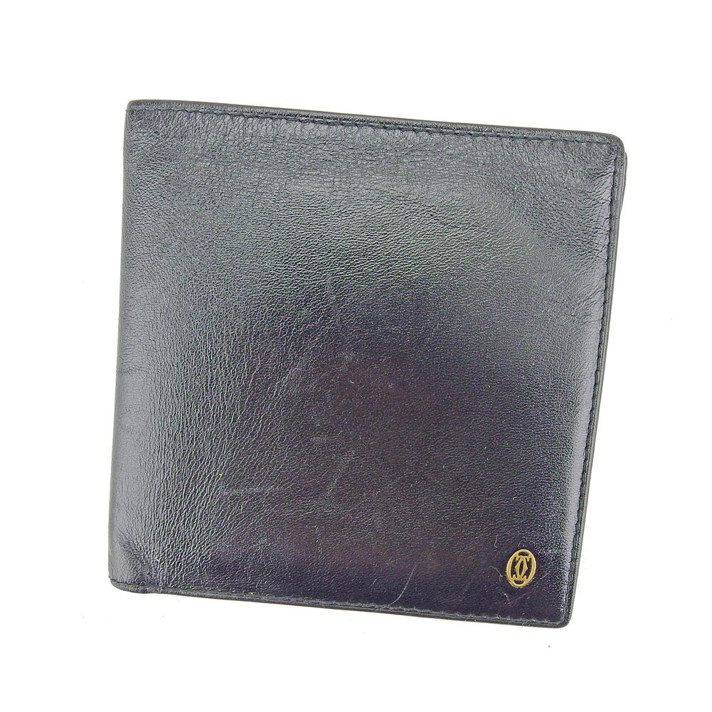 【送料無料】 カルティエ 二つ折り 財布 ブラック ゴールド 【中古】 T5197s