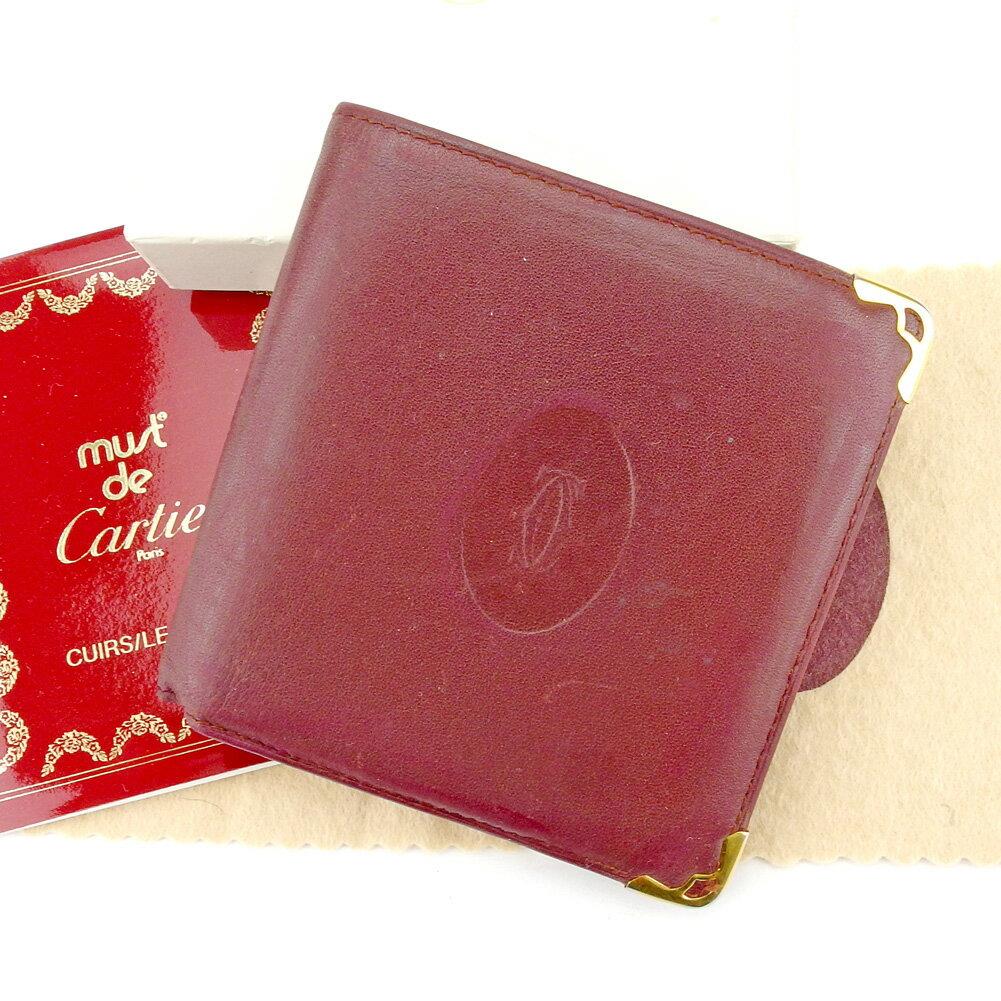 【中古】 【送料無料】 カルティエ 二つ折り 財布 ボルドー ゴールド T5261s .