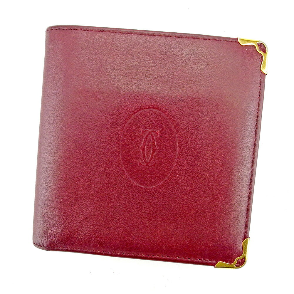 【送料無料】 カルティエ 二つ折り 財布 ボルドー ゴールド 【中古】 T5280s