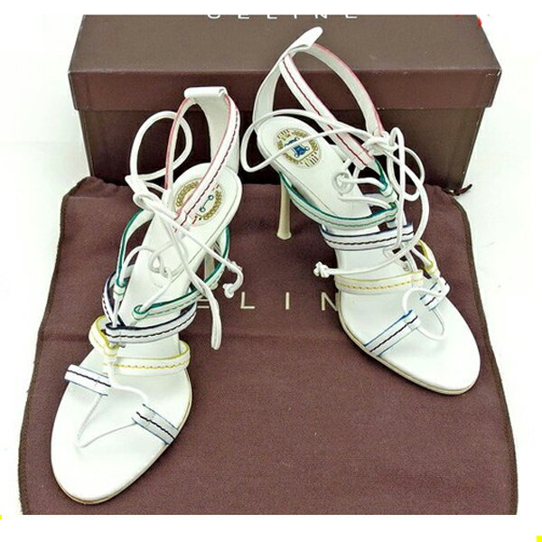 セリーヌ CELINE サンダル シューズ 靴 レディース ♯35ハーフ グラディエーター ホワイト×マルチ レザー 人気 【中古】 Y5517