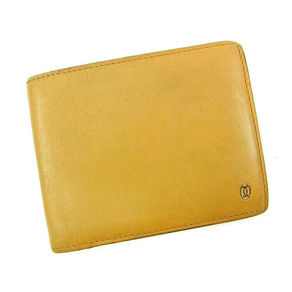 【送料無料】 カルティエ 二つ折り 札入れ 二つ折り 財布 ベージュ 【中古】 T3781s