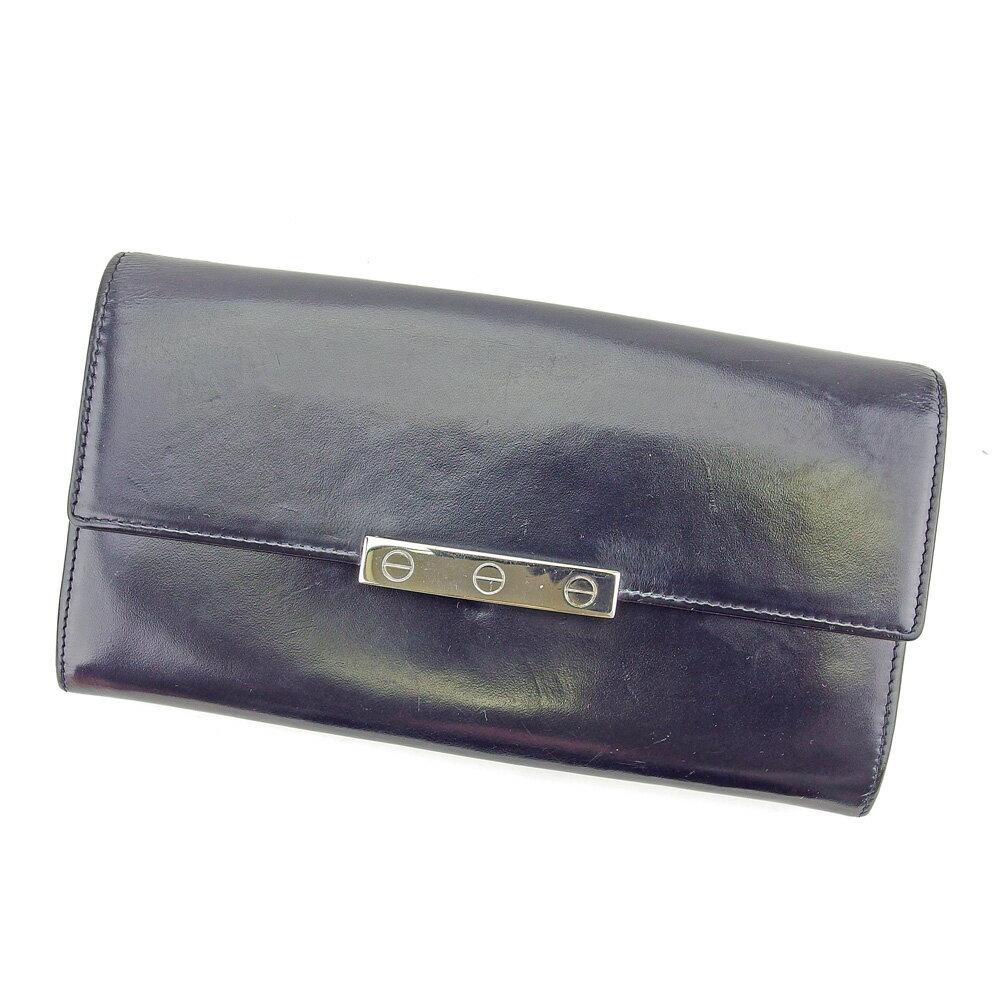 【送料無料】 カルティエ 長財布 財布 ファスナー付き ブラック シルバー 【中古】 T5192s