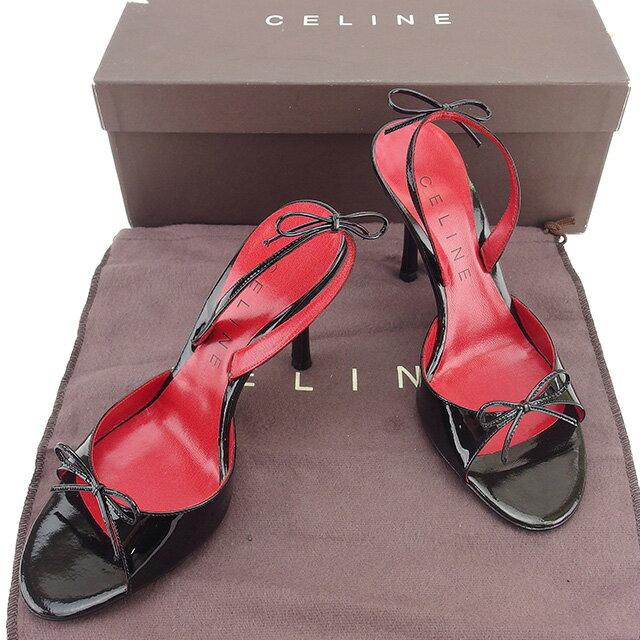 セリーヌ CELINE サンダル #36・1/2 レディース ブラック×レッド エナメルレザー 美品 【中古】 T536