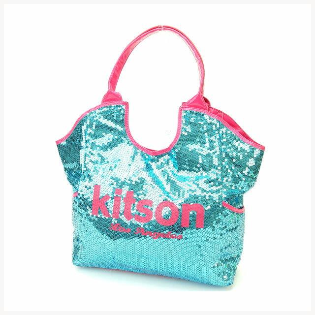 【中古】 【送料無料】 キットソン kitson トートバッグ ワンショルダー レディース スパンコール ブルー×ピンク エナメルレザー (あす楽対応)美品 人気 I169