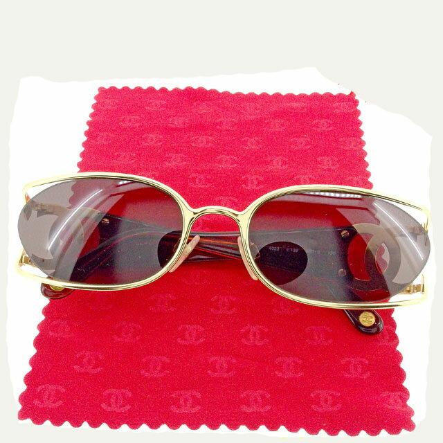 【中古】 【送料無料】 シャネル サングラス アイウエア レディース ココマーク ブラウン×ゴールド Chanel T1520