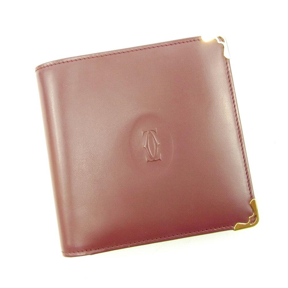 【送料無料】 カルティエ 二つ折り 財布 ボルドー×ゴールド 【中古】 T4617s