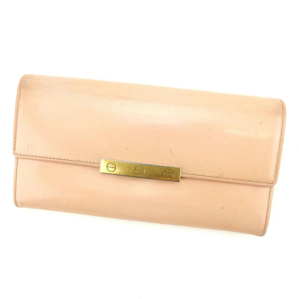 【送料無料】 カルティエ 長財布 財布 ファスナー付き ピンク×ゴールド 【中古】 T5129s