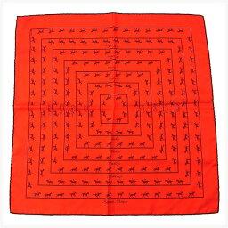 愛馬仕HERMES圍巾手帕男子的可的puchikare騎馬花紋紅柳丁×棕色SILK/100%(對應)促銷品質優良的貨物Y2093。