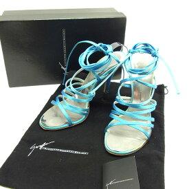 【中古】 【送料無料】 ジュゼッペ ザノッティ デザイン GIUSEPPE ZANOTTI DESIGN サンダル シューズ 靴 レディース ♯36サイズ ピンヒール レースアップ ブルー×シルバー サテン 人気 T11322