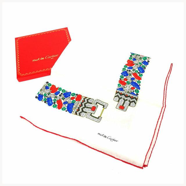 【中古】 【送料無料】 カルティエ Cartier スカーフ レディース マストライン ホワイト×レッド 100%シルク (あす楽対応)人気 未使用【】 Y1569
