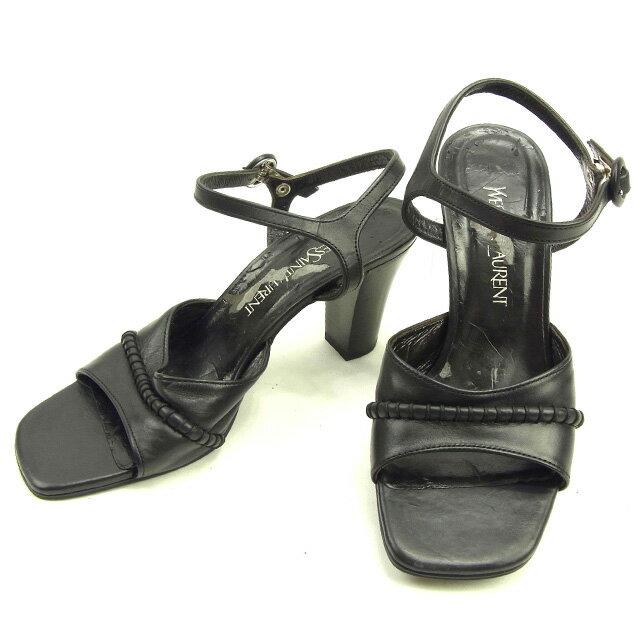 サンローラン SAINT LAURENT サンダル シューズ 靴 レディース ♯35ハーフ チャンキーヒール アンクルストラップ ブラック レザー 訳あり 【中古】 Y6818
