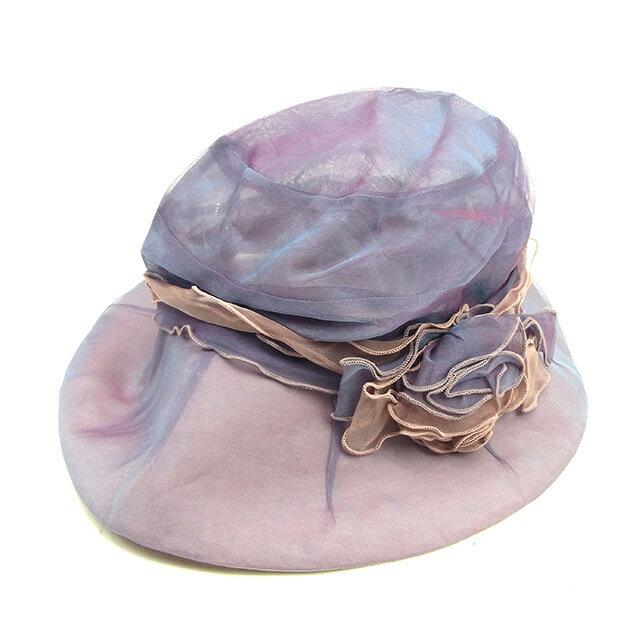 【中古】 【送料無料】 ランバン コレクション 帽子 ハット レディース フラワーモチーフ パープル×ピンク系 綿100%(つば裏)綿60%絹40% Lanvin Y6890 .