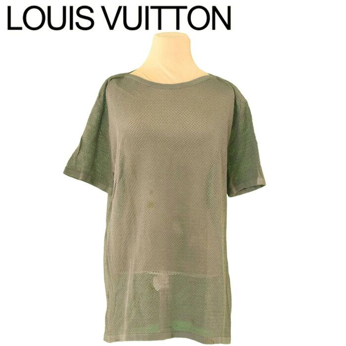 【中古】 ルイ ヴィトン Louis Vuitton カットソー 半袖 トップス レディース メンズ ♯Mサイズ メッシュ グリーン 綿 コットン 人気 セール T10257