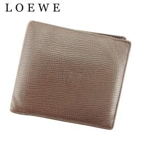 af69e0d22ac8 【中古】 ロエベ LOEWE 二つ折り 札入れ メンズ アナグラム ブラウン レザー 人気 セール H597 .