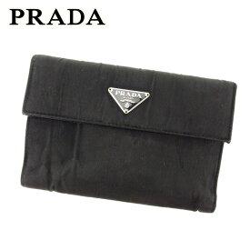 bb083390461b 【中古】 プラダ Prada 三つ折り 財布 財布 二つ折り 財布 財布 ブラック レディース L2445s