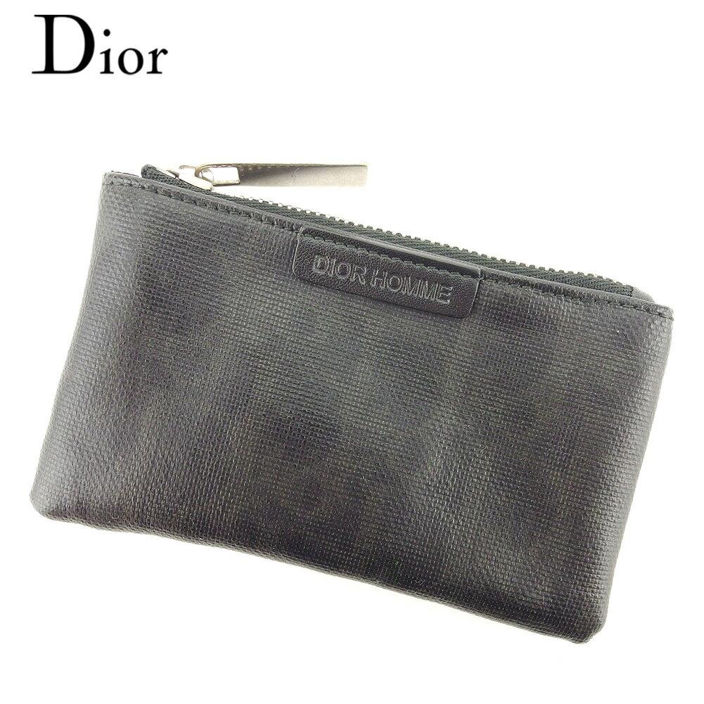 【中古】 ディオール オム Dior Homme コインケース 小銭入れ キーケース メンズ トロッター ブラック グレー 灰色 シルバー コーティングキャンバス×レザー 人気 良品 T7742