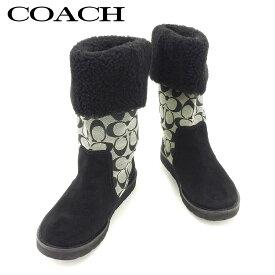 【中古】 コーチ COACH ブーツ シューズ 靴 レディース シグネチャー ブラック グレー 灰色 キャンバス×スエードブーツ T7746s .