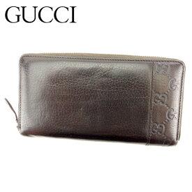 4fa665ef7d6c 【中古】 グッチ Gucci 長財布 財布 ラウンドファスナー ブラウン グッチシマ レディース メンズ T8320s