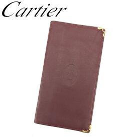 【中古】 カルティエ 長札入れ 札入れ マストライン ボルドー ゴールド レザー Cartier T13970
