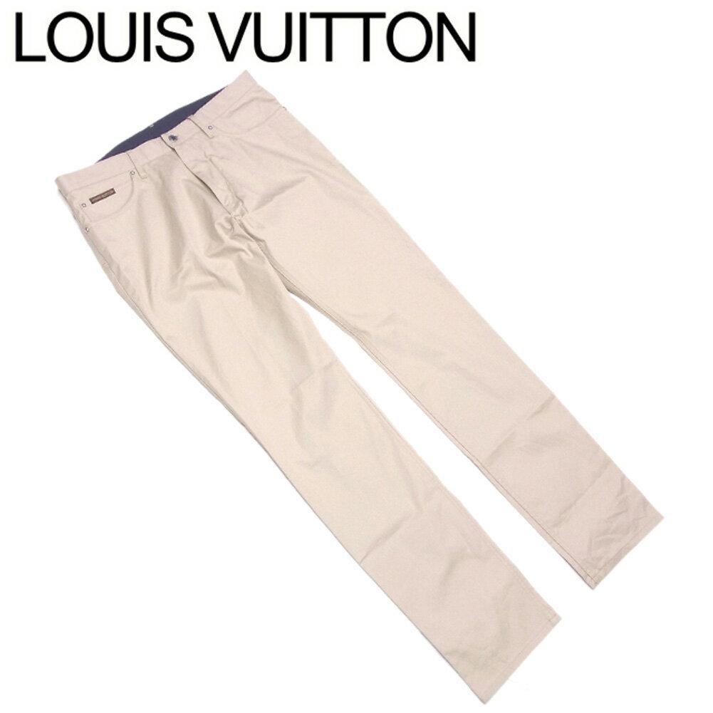 【中古】ルイ ヴィトン Louis Vuitton パンツ チノパン ボトムス メンズ ♯USA34サイズ ストレート ベージュ コットン 綿 牛革 未使用品 T9253