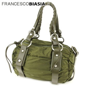 【中古】 フランチェスコビアジア 2WAY バッグ ショルダーバッグ シャーリング ナイロンキャンバス×レザー グリーン シルバー FRANCESCO BIASIA L2563