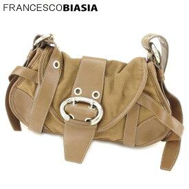 【中古】 フランチェスコビアジア ショルダーバッグ 斜めがけショルダー バッグ ベルトデザイン キャンバス ブラウン シルバー FRANCESCO BIASIA L2565