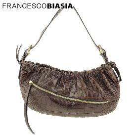 【中古】 フランチェスコビアジア ハンドバッグ ショルダーバッグ クロコ調 型押しレザー ブラウン ゴールド FRANCESCO BIASIA L2576