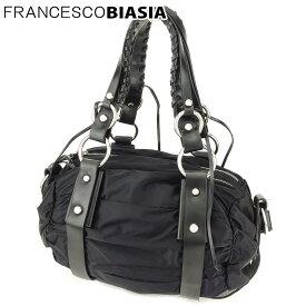 【中古】 フランチェスコビアジア 2WAY バッグ ショルダーバッグ シャーリング ナイロンキャンバス×レザー ブラック シルバー FRANCESCO BIASIA L2578