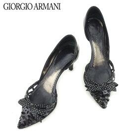 【中古】 ジョルジオ アルマーニ パンプス シューズ 靴 ドット柄リボン エナメルレザー ブラック ホワイト 白 GIORGIO ARMANI L2594 .