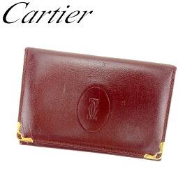 8588e6c164a0 中古 【スーパーSALE】 【20%オフ】 【中古】 カルティエ Cartier カードケース 名刺入れ レディース マストライン ボルドー レザー  人気 セール L2717 .