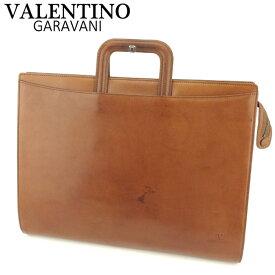 【中古】 ヴァレンティノ ガラヴァーニ VALENTINO GARAVANI ビジネスバッグ ブリーフケース メンズ ロゴ ブラウン ゴールド レザー 訳あり セール T9387