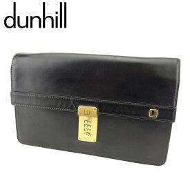【中古】 ダンヒル クラッチバッグ セカンドバッグ ロゴプレート レザー ブラック ゴールド dunhill T9391