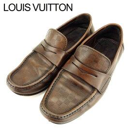 【中古】 ルイ ヴィトン Louis Vuitton ローファー シューズ 靴 メンズ #6 ダミエ ブラウン レザー 人気 セール T9399