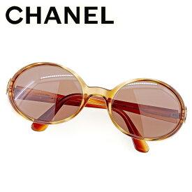 【中古】 シャネル CHANEL サングラス メガネ アイウェア レディース メンズ オーバル型 ココマーク ブラウン ベージュ ゴールド プラスチック×ゴールド金具 人気 セール T9504