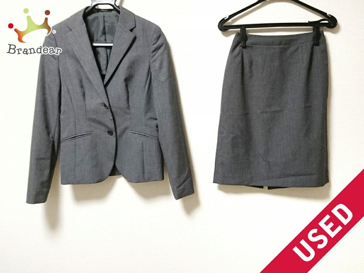 【新着】COMME CA ISM(コムサイズム) スカートスーツ レディース美品■ グレー ストライプ【20180623】【中古】